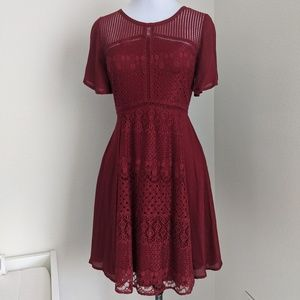 Doe & Rae Fit and Flare Lace Dress